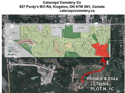 Burial of richard and Eliza Taylor Cemetery Map